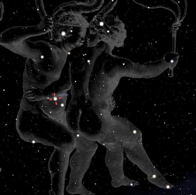 Jupiter konjunkcija Kastor